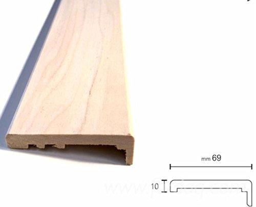 Coprifili in legno massiccio in aste da 2300 mm | confezioni da metri 11 sufficienti per entrambi i lati della porta (10X69, Toulipier grezzo da verniciare)