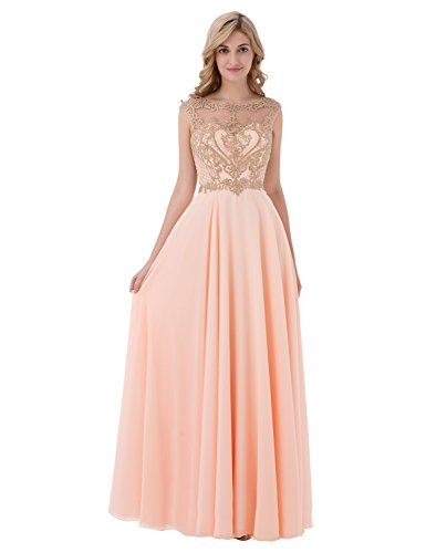 Sarahbridal Women's Gold Applique Beaded Bridesmaid Dresses Long Formal Prom Party Gowns Blush US6 (Apparel)