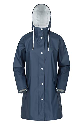 Mountain Warehouse Chaqueta Impermeable Country PU para Mujer - Chubasquero Ligero, con Costuras Selladas, Capucha Ajustable - para el Exterior, Viajes, acampadas Azul 46