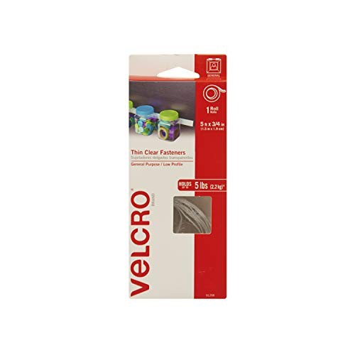 VELCRO Brand - Thin Clear Fasteners | Perfect for Home or Office | 5ft x 3/4in Tape