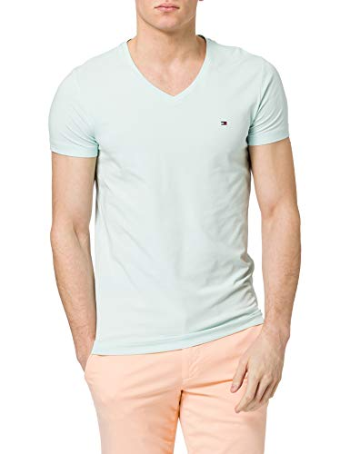 Tommy Hilfiger Herren Stretch Slim FIT Vneck Tee T-Shirt, Oxygen, S