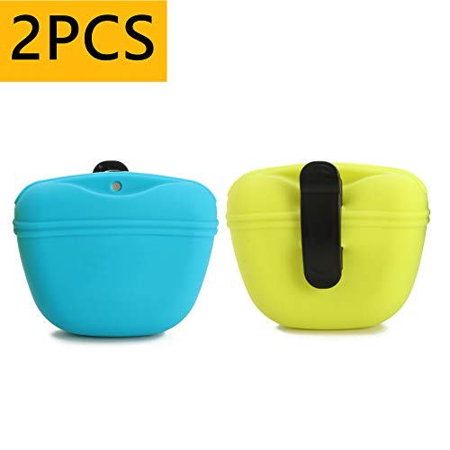 RoyalCare Silicone Dog Treat Pouch-Small Training Bag-Portable Dog Treat Bag for Leash with Magnetic...