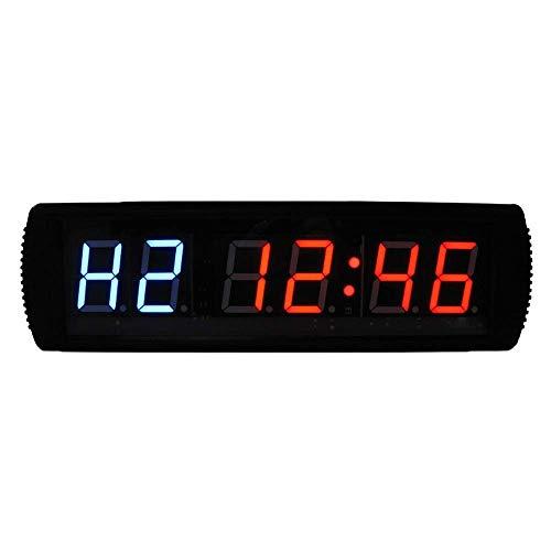 YEESEU El LED de Alarma Digital Relojes Digitales LED programable Intervalo de Temporizador de Cuenta Regresiva del Reloj cronómetro con Control Remoto (Color: Negro, Tamaño: 54.5X10X4CM)