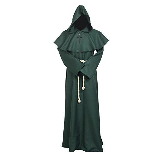 BLESSUME Disfraces de Monje Sacerdote Túnica Fraile Medieval Capucha Encapuchado Monje Renacimiento Túnica Disfraz (XL, Verde)