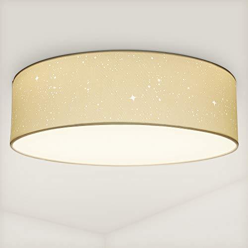 Navaris LED Deckenleuchte rund mit Sterneneffekt - warmweiß - 22 Watt - 14 x 40 x 40cm - Design Stoff Deckenlampe Weiß mit Montagematerial