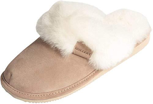 Hollert Leather Lammfell Hausschuhe - Malibu Damen Pantoffeln Fell Schuhe, Beige/Weiß, 39 EU