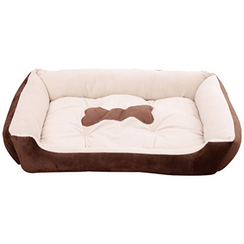 Winter Warmer Rectangle Kennel for Large Dog Machine Washable Cozy Cotton Pet Sofa Bed Anti-Slip Puppy Cat Lounger