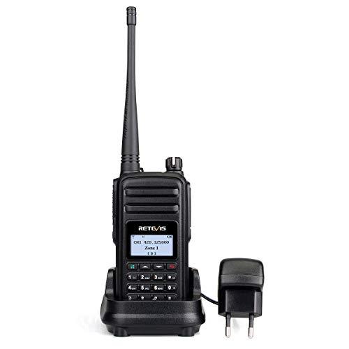 Retevis RT80 DMR Walkie Talkie Digital 999 Canales 999 Contactos Radio FM VOX Radio Aficionado Compatible con Mototrbo Tier I&II(Negro, 1Pack)