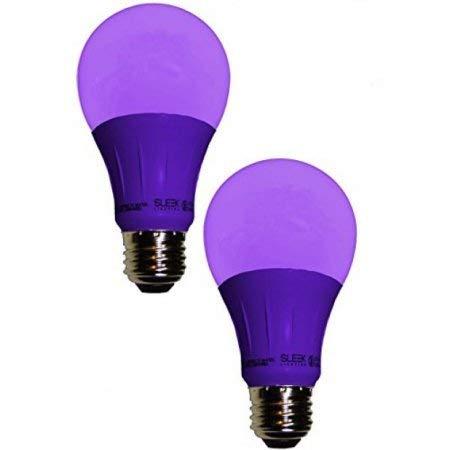 Sleeklighting LED A19 Purple Light Bulb, 120 Volt - 3-Watt Energy Saving - Medium Base - UL-Listed LED Bulb - Lasts More Than 20,000 Hours 2pack