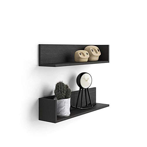 Mobili Fiver, Par de estantes, Modelo Luxury, de MDF, Color Negro Ceniza, 75 x 16,5 x 16,5 cm