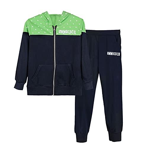 L PATTERN Kinder Jungen 2tlg Jogginganzug Trainingsanzug Sportanzug Freizeitanzug Outfit-Set Bekleidungsset Zweiteiler(Sweatshirt+Sweathose), Grün + Dunkelblau, 134-140
