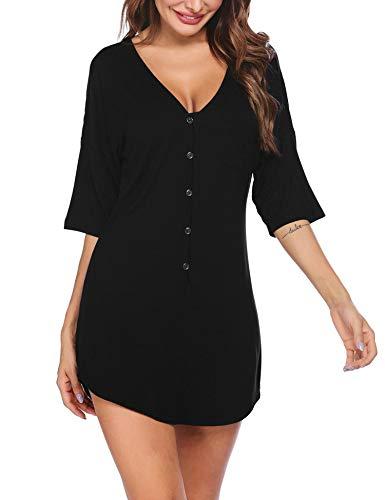 Ekouaer Nachthemd mit Knopfleiste, kurz, V-Ausschnitt, Nacht-Shirts, Damen, Boyfriend-Nachtwäsche, S-XXL - A_black, size: Klein