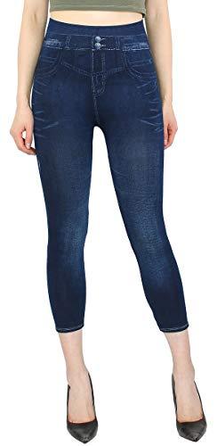 dy_mode Capri Leggings Damen 7/8 Jeggings Caprihose Sommer - 7LG510 (One Size - Gr.36-42, 7LG206-TwoButtons)