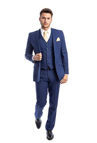 Azzuro Men's Blue 2 Button 3 Piece Modern Fit Suit with Matching Vest(Regular 36Short/30Waist)