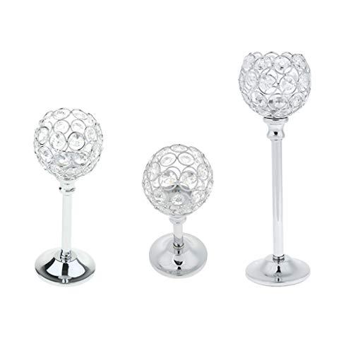Homyl 3 Piezas Candelero Cristal de Mosaico Portavelas Estilo Marroquí Adorno para Boda Fiesta S/M/L - Plata