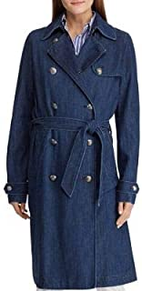RALPH LAUREN Womens Blue Twill Trench Coat US Size: 4