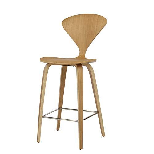 Tabourets Hauts Chaise Haute en Bois Massif avec Dossier Chaise de Bureau Réception de Bureau Home Leisure Stool Club Coffee Counter Bar Stool Niveau d'énergie A ++++ (Color : Wood Color)