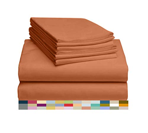 LuxClub 6 PC Sheet Set Bamboo Sheets Deep Pockets 18' Eco Friendly Wrinkle Free Sheets Hypoallergenic Anti-Bacteria Machine Washable Hotel Bedding Silky Soft - Autumn Orange Queen