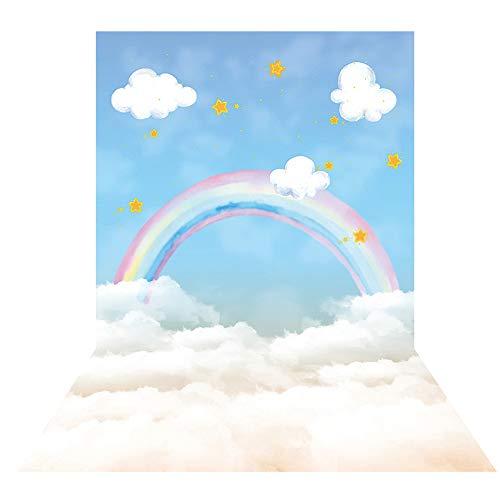 Allenjoy 5x7ft Sky and Rainbow Watercolor Cloud Backdrop Portrait for Infant Newborn Children Kids Boys Girls Baby Shower Cake Smash Birthday Party Decoration Photoshoot Studio Props