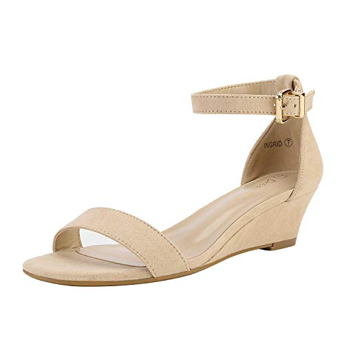 DREAM PAIRS Women's Ingrid Nude Suede Ankle Strap Low Wedge Sandals Size 9 M US