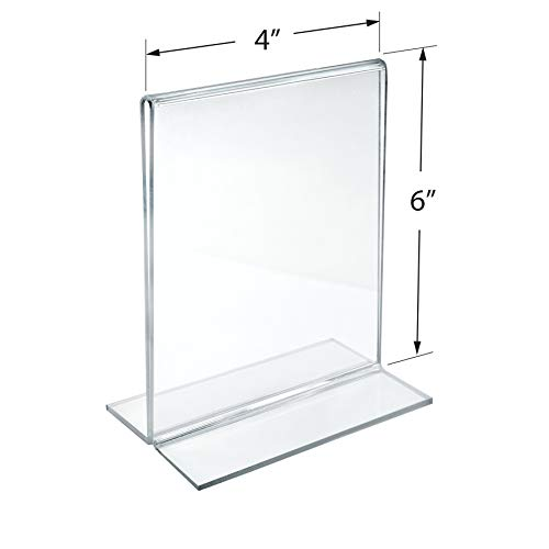Azar 152726 4-Inch by 6-Inch Vertical Double-Sided Stand Up Sign Holder, 10 Count