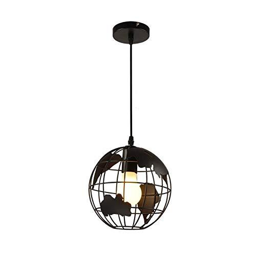 LIUDADA Lámpara colgante vintage con diseño de globo terráqueo, E27, 7 W, lámpara de techo de hierro, lámpara de techo para salón, diámetro de 30 cm, color negro