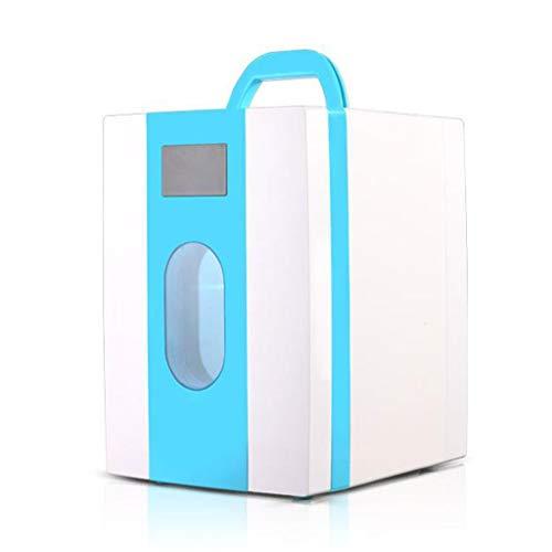LYN Tragbarer 10-Liter-Kompressor-Kühlschrank mit Gefrierfach, 12 V / 220 V für Auto und Haushalt (Farbe : Blau)