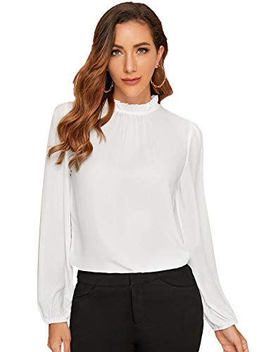 DIDK Damen Blusen Stehkragen Chiffonbluse Oberteil mit Laternen Ärmel Elegant Langarmshirt Langarm Hemd Einfarbig Tops Pullover Weiß XL
