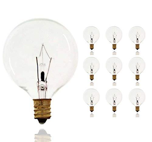 Sterl Lighting - Pack of 10 G16.5 Wax Warmer Decorative Chandelier Clear Light Bulbs , Globe Incandescent , 40 Watts , 120 Volts , E12 Candelabra Base , 2700K , 380 Lumens
