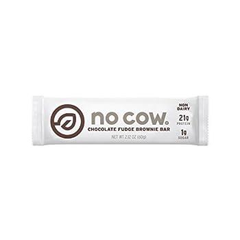No Cow Protein Bar Chocolate Fudge Brownie 21g Plant Based Protein Low Sugar Dairy Free Gluten Free Vegan High Fiber Non-GMO 12 Count - 2.12 oz