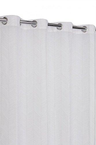 RideauDiscount Voilage à Oeillets 135 x 280 cm Grande Hauteur Esprit Bohème Chic Motif Contemporain Bicolore Écru