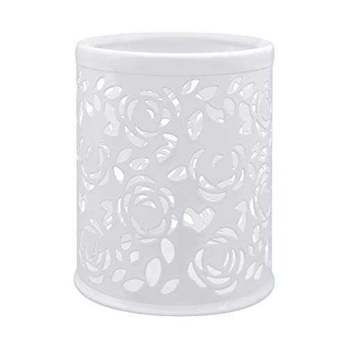 Ciaoed Porte-Stylo Ciselé Pot à Crayons en Métal Caisses de Rangements pour pinceau de Maquillage Stylos (Blanc)