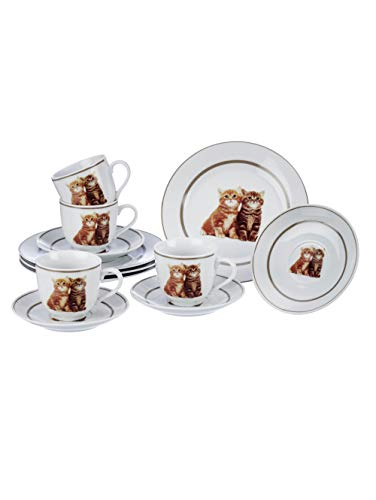 TRI Kaffee-Service Kätzchen, Geschirrset aus 4 Tassen 4 Untertassen & 4 Kuchenteller, Katzenmotiv & Zierrand, 12 Teile, Porzellan
