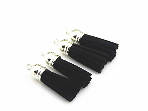 QIANHAILIZZ 40 Silver Cap 1-1/2 Inch Faux Suede Tassel Tassel Charm with CCB Cap for Keychain Cellphone Straps Jewelry Charms (Black)