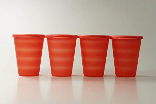Tupperware Trinkhalmbecher Junge Welle 330 ml orange (4) Trinkhalm Becher