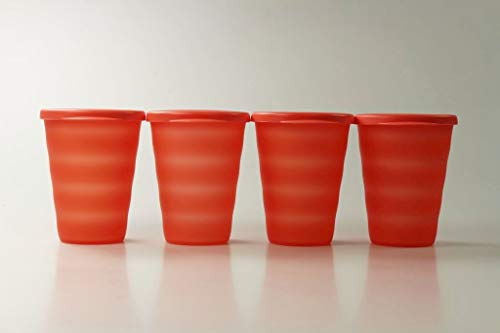 Tupperware Trinkhalmbecher Junge Welle 330 ml orange (4) Trinkhalm Becher