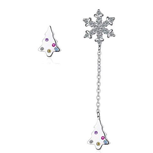 Pendientes de gota de diseño de árbol de Navidad con copo de nieve para niñas, pendientes de asimetría de cristal brillante, accesorios de borla de plata 925 para mujer