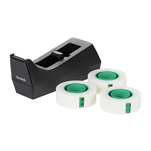 3M Scotch Dispenser Ricaricabile e 3 Magic Tape Rotoli di Nastro Adesivo 3M