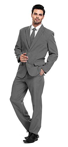 U LOOK UGLY TODAY Men's Party Suit Solid Color Prom Suit for Themed Party Events Clubbing Jacket with Tie Pants Grey -Large