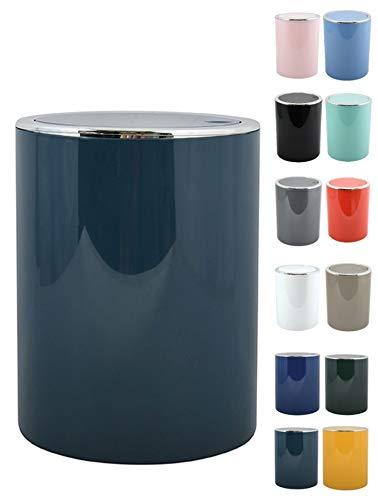 MSV Bad Serie Aspen Design Kosmetikeimer Bad Treteimer Schwingdeckeleimer Abfallbehälter mit Schwingdeckel 6 Liter (ØxH): ca. 18,5 x 26 cm Pastell Petrol