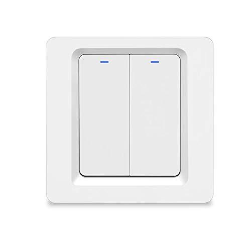 BlumWay WiFi Smart Wireless Lichtschalter, einfache Installation in der Wand, kein Hub erforderlich, kompatibel mit Alexa Echo und Google Assistant (Lichtschalter - 2 Gang)