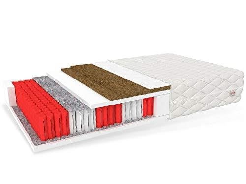 FDM GRADO Multipocket-Taschenfederkernmatratze 7 Zonen mit Kokos- und Schafwolle-Füllung - Härtegrade H4/H5 - waschbarer Bezug Premium Jersey - Öko-Produkt ALLERGIKERFREUNDLICH (160 x 200 cm)