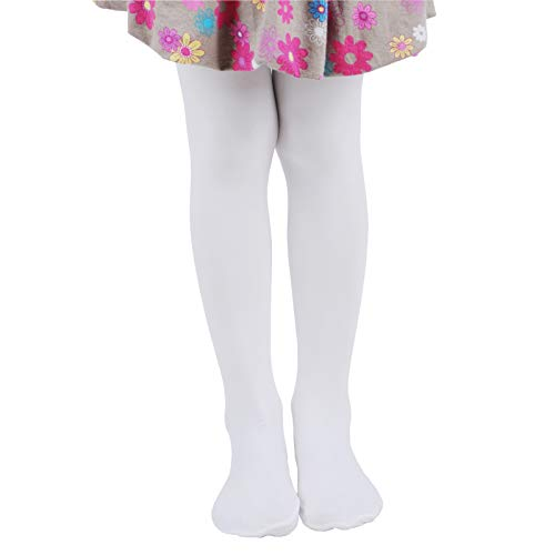 Leg Elegant Girls Microfiber Soft Opaque Solid Colored Footed Tights (5-7, White)