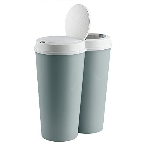 Deuba Cubo de basura Verde 50L 2x25L basurero interior cocina para residuos reciclaje 2 compartimentos doble contenedor