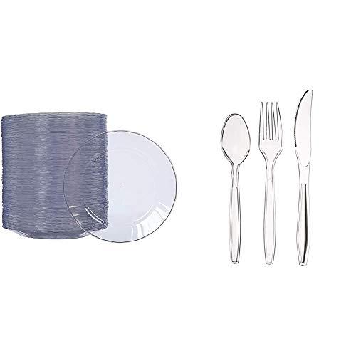 AmazonBasics - Piatti di plastica, monouso - Confezione da 100 pezzi, 19 cm & Set di 150 posate in plastica, 50 forchette, 50 cucchiai, 50 coltelli, lavabile in lavastoviglie