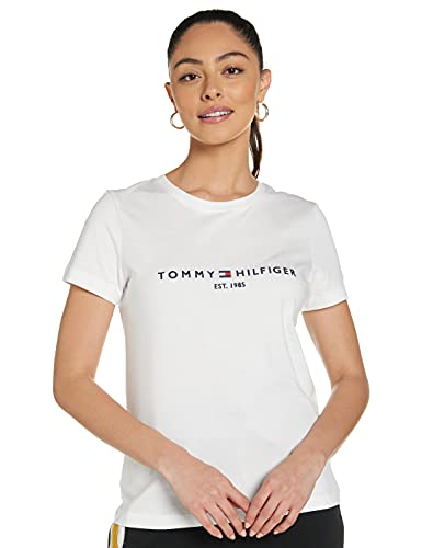 Tommy Hilfiger TH ESS Hilfiger C-NK REG tee SS Camiseta sin mangas para bebés y niños pequeños, blanco, S para Mujer
