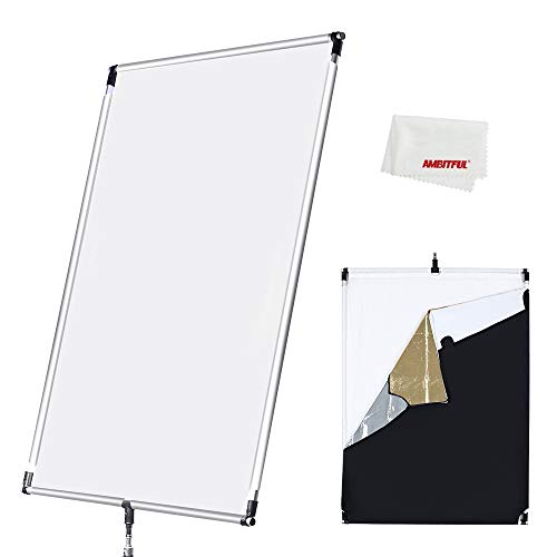 60 x 90 cm, Sun Scrim groß 5-in-1 Black Silver Gold White Diffuser Reflektor Aluminium Alloy Frame for Photography