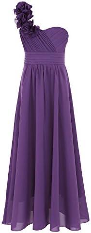 iEFiEL Big Girls Rosette One Shoulder Chiffon Flower Dress Junior Bridesmaid Gown Purple 14 product image