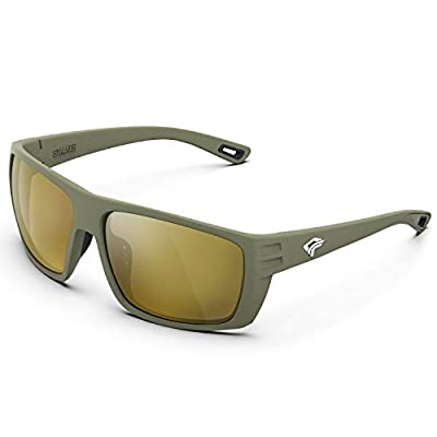 TOREGE Polarized Sports Sunglasses for Men and Women Saltwater Resistance Lens Cycling Running Golf Fishing Sunglasses TR27 (Matte Breen Frame & Brown Lens)