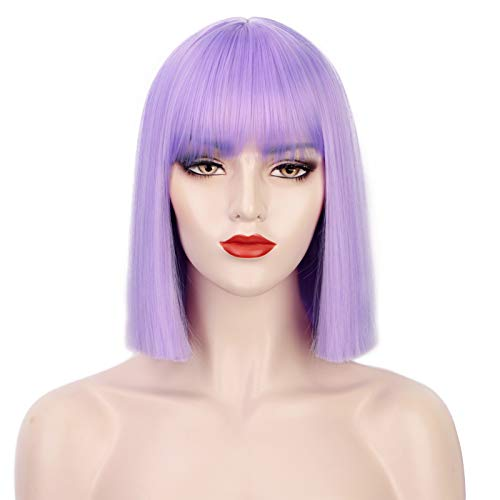 ENTRANCED STYLES Lavender Purple Bob Wig Colorful Wigs Heat Resistant Fiber Synthetic Wigs Straight Hair With Bangs for Women Daily Use Halloween Cospaly Wig